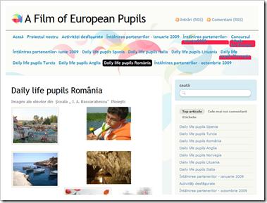 A Film of European Pupils - site-ul proiectului  în România.
