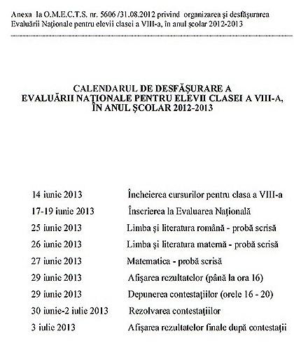 Calendar evaluare 2013